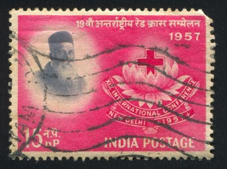 henri: INDIA - CIRCA 1957: stamp printed by India, shows Henri Dunant, circa 1957