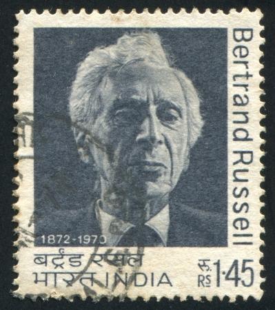 INDIA - CIRCA 1972: Stempel von Indien gedruckt, zeigt Bertrand Russell, circa 1972 Standard-Bild - 14905003