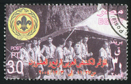 tree linked: EGYPT - CIRCA 2003: stamp printed by Egypt, shows Tent, scouts, emblem, circa 2003