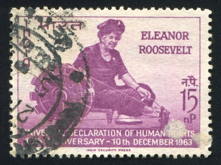 INDIA - CIRCA 1963: stamp printed by India, shows Eleanor Roosevelt at Spinning wheel, circa 1963