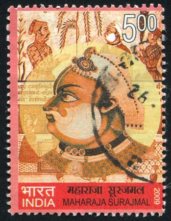 maharaja: INDIA - CIRCA 2009: stamp printed by India, shows Maharaja Surajmal, circa 2009