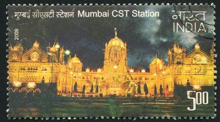 terminus: INDIA - CIRCA 2009: stamp printed by India, shows Mumbai CST station, circa 2009