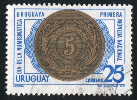 obverse: URUGUAY - CIRCA 1971: stamp printed by Uruguay, shows Coin of 1840, Obverse, circa 1971