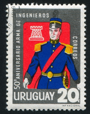 URUGUAY - CIRCA 1966: stamp printed by Uruguay, shows Army Engineer, circa 1966 Stock Photo - 14905058