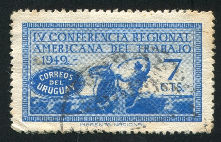 URUGUAY - CIRCA 1949: stamp printed by Uruguay, shows Mounted Cattle Herder, circa 1949