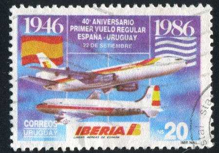scheduled: URUGUAY - CIRCA 1986: stamp printed by Uruguay, shows Scheduled Flights between Uruguay and Spain, circa 1986 Editorial