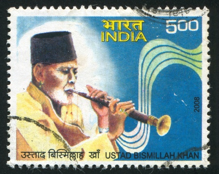 bismillah: INDIA - CIRCA 2008: stamp printed by India, shows Ustad Bismillah Khan, circa 2008