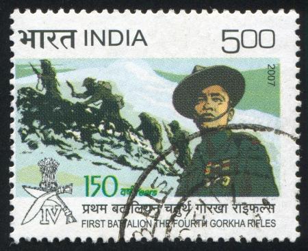 batallon: INDIA - CIRCA 2007: sello impreso por la India, muestra Primer Batall�n de los Fusileros de Gorkha cuarto lugar, alrededor del a�o 2007 Editorial