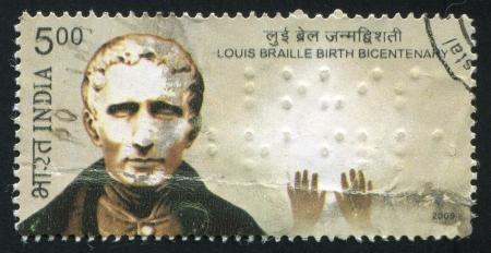 braille: INDIA - CIRCA 2009: sello impreso por la India, muestra Bicentenario del nacimiento de Louis Braille, alrededor del a�o 2009