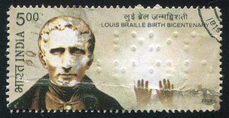 INDIA - CIRCA 2009: stamp printed by India, shows Louis Braille Birth Bicentenary, circa 2009 Stock Photo - 15054814