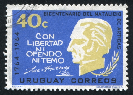 URUGUAY - CIRCA 1965: stamp printed by Uruguay, shows Artigas Bust, Quotation, circa 1965 Stock Photo - 15102372
