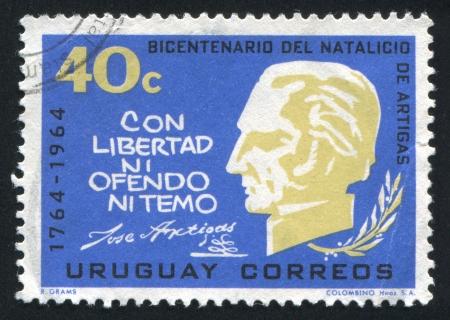 URUGUAY - CIRCA 1965: stamp printed by Uruguay, shows Artigas Bust, Quotation, circa 1965 Stock Photo - 15102372
