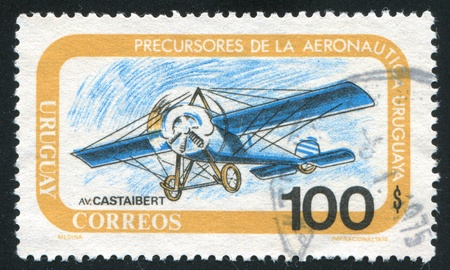 fixed wing aircraft: FINLAND - CIRCA 1974: stamp printed by Finland, shows Castaibert Monoplane, circa 1974