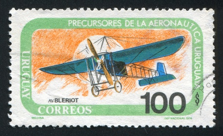 fixed wing aircraft: FINLAND - CIRCA 1974: stamp printed by Finland, shows Bleirot Monoplane, circa 1974