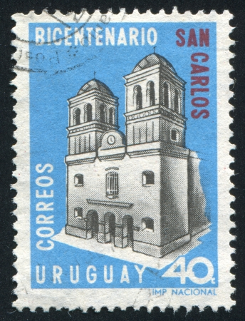 carlos: URUGUAY - CIRCA 1967: stamp printed by Uruguay, shows Church of San Carlos, circa 1967