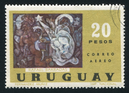 URUGUAY - CIRCA 1972: stamp printed by Uruguay, shows Adoration of Kings and Shepherds, by Rafael Perez Barradaz, circa 1972 Stock Photo - 15102423