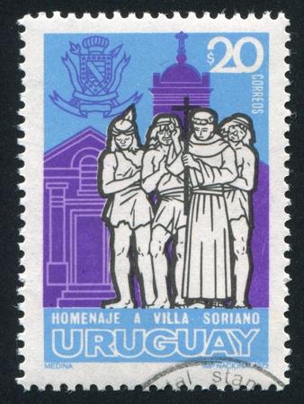 friar: URUGUAY - CIRCA 1973: stamp printed by Uruguay, shows Friar, Indians and Church, circa 1973