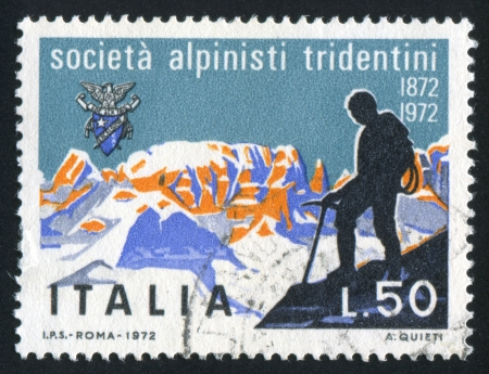 ITALY - CIRCA 1972: stamp printed by Italy, shows Tridentine Alpinists Society, circa 1972