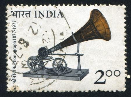 gramaphone: INDIA - CIRCA 1977: stamp printed by India, shows Berliner Gramaphone, circa 1977