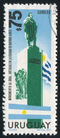 artigas: URUGUAY - CIRCA 1974: stamp printed by Uruguay, shows Artigas Statue in Buenos Aeros, Flags of Argentina and Uruguay, circa 1974