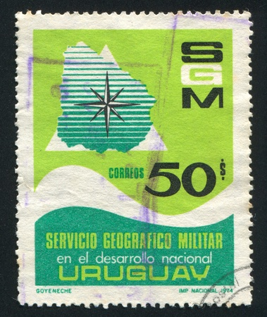URUGUAY - CIRCA 1974: stamp printed by Uruguay, shows Map of Uruguay and Compass Rose, circa 1974