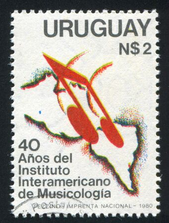 duration: URUGUAY - CIRCA 1981: stamp printed by Uruguay, shows Eighth Notes on Map of Americas, circa 1981