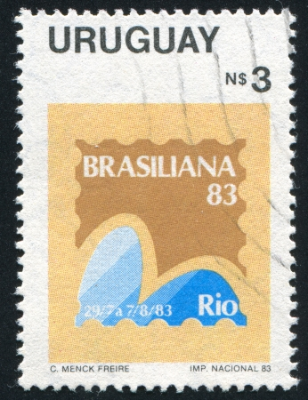 URUGUAY - CIRCA 1966: stamp printed by Uruguay, shows Brasiliana '83 Emblem, circa 1966 Stock Photo - 15181620