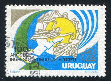 upu: URUGUAY - CIRCA 1981: stamp printed by Uruguay, shows UPU Membership Centenary, circa 1981