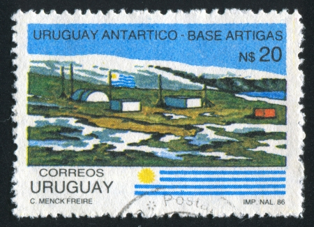 polar station: URUGUAY - CIRCA 1987: stamp printed by Uruguay, shows Artigas Antarctic Station, circa 1987
