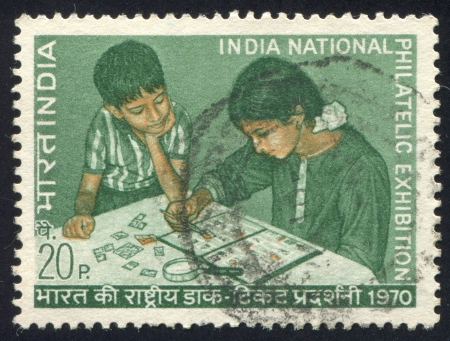 INDIA - CIRCA 1970:  stamp printed by India, shows India National philatelic exhibition, children, circa 1970