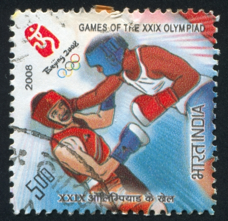 olympiad: INDIA - CIRCA 2008: stamp printed by India, shows boxers at Games of the XXIX Olympiad, circa 2008 Editorial