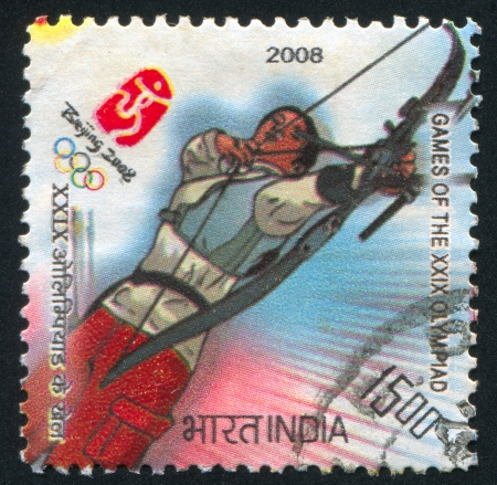 arbalest: INDIA - CIRCA 2008: stamp printed by India, shows Target archery at Games of the XXIX Olympiad, circa 2008