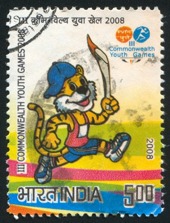 INDIA - CIRCA 2008: stamp printed by India, shows talisman of III Commonwealth youth games, circa 2008