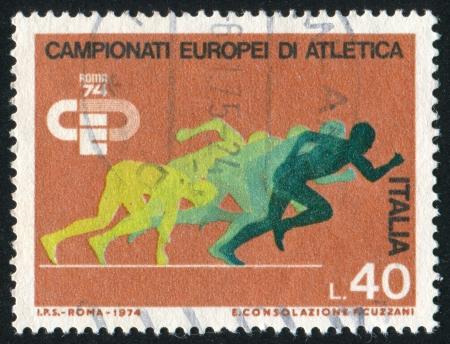 ITALY-CIRCA 1974: stamp printed by Italy, shows Sprinters, circa 1974 Stock Photo - 15337592