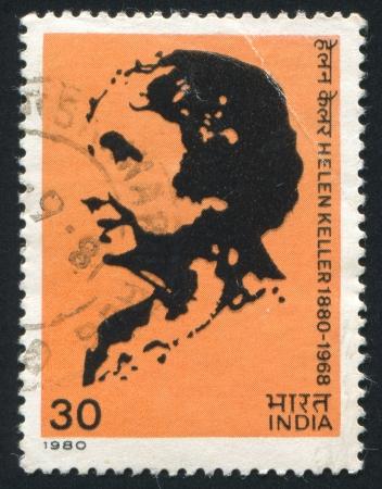 adams: INDIA - CIRCA 1980: stamp printed by India, shows Helen Keller, circa 1980