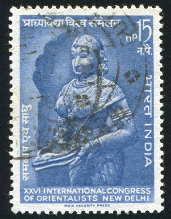 INDIA - CIRCA 1964: stamp printed by India, shows statue of Lakshmi, circa 1964 Stock Photo - 15337590