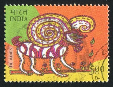 INDIA - CIRCA 2010: stamp printed by India, shows aries, circa 2010 Stock Photo - 15337625