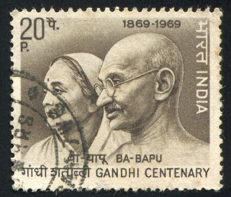 INDIA - CIRCA 1969: stamp printed by India, shows Mahatma Gandhi and wife Kasturba, circa 1969