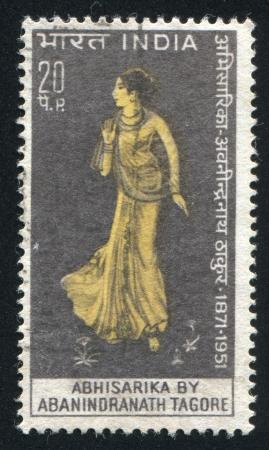 tagore: INDIA - CIRCA 1971: stamp printed by India, shows drawing of Abhisarika, circa 1971