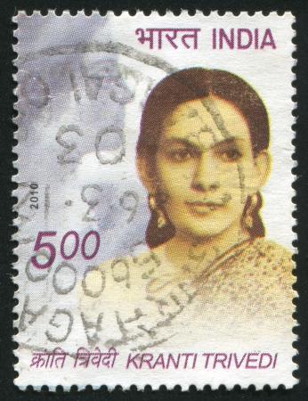 INDIA - CIRCA 2010: stamp printed by India, shows woman Kranti Trivedi, circa 2010 Stock Photo - 15337601