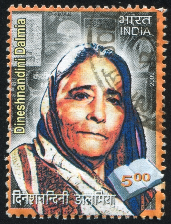 INDIA - CIRCA 2009: stamp printed by India, shows woman Dinesh Nandini Dalmia, circa 2009 Stock Photo - 15337630