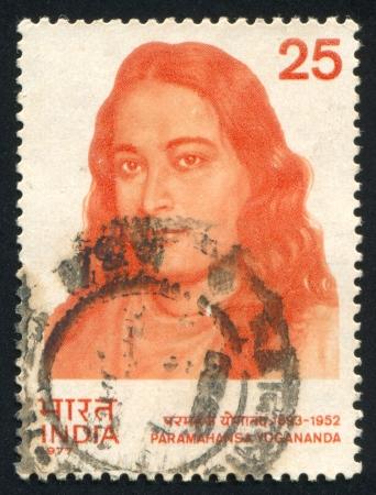 kriya: INDIA - CIRCA 1977: stamp printed by India, shows religious leader Paramahansa Yogananda, circa 1977