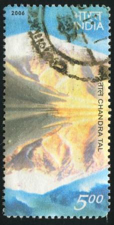 INDIA - CIRCA 2006: stamp printed by India, shows Chandra Tal lake, circa 2006