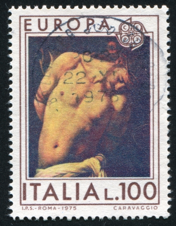 flagellation: ITALY - CIRCA 1975: stamp printed by Italy, shows Flagellation of Jesus by Caravaggio, circa 1975