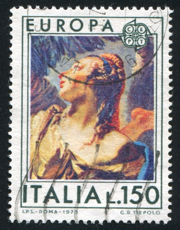apparition: ITALY - CIRCA 1975: stamp printed by Italy, shows Apparition of Angel to Hagar and Ishmael by Tiepolo, circa 1975