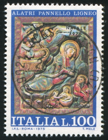 ITALY - CIRCA 1975: stamp printed by Italy, shows Nativity, circa 1975 Stock Photo - 15370279