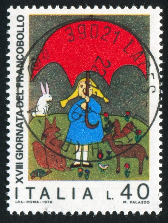 ITALY - CIRCA 1976: stamp printed by Italy, shows Girl and animals by children drawing, circa 1976 Stock Photo - 15370289