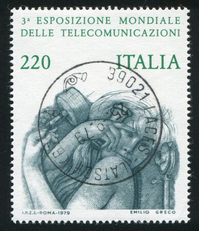 ITALY - CIRCA 1979: stamp printed by Italy, shows Woman with old-fashioned phone, circa 1979