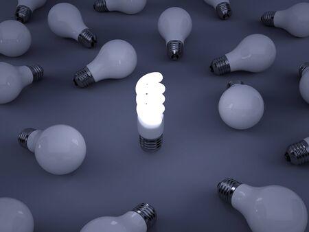 eficiencia energetica: Imagen de alta resoluci�n. 3d rindi� la ilustraci�n. S�mbolo de la bombilla.