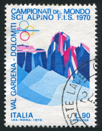 ITALY - CIRCA 1970: stamp printed by Italy, shows Sassolungo and Sella Group by Dolomite Alps, circa 1970